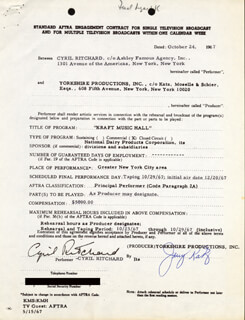 CYRIL RITCHARD - CONTRACT SIGNED 10/24/1967