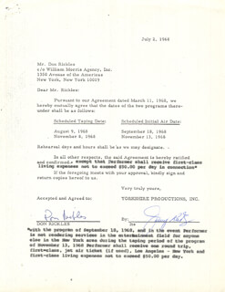 DON RICKLES - DOCUMENT SIGNED 07/02/1968