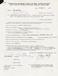 TEX RITTER - CONTRACT SIGNED 10/08/1969