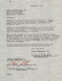 MICKEY ROONEY - CONTRACT SIGNED 10/21/1960
