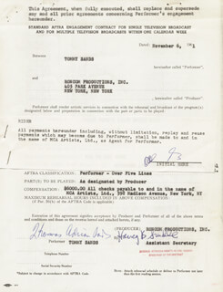 TOMMY SANDS - CONTRACT MULTI-SIGNED 11/06/1961