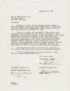 TOMMY SANDS - DOCUMENT SIGNED 11/18/1960