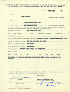 JEAN SIMMONS - CONTRACT SIGNED 10/31/1955
