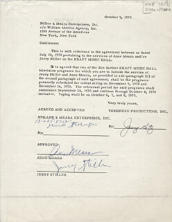 ANNE MEARA - CONTRACT SIGNED 10/09/1970 CO-SIGNED BY: JERRY STILLER