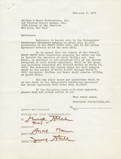 ANNE MEARA - CONTRACT SIGNED 02/05/1971 CO-SIGNED BY: JERRY STILLER
