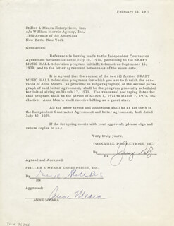 ANNE MEARA - CONTRACT SIGNED 02/24/1971 CO-SIGNED BY: JERRY STILLER