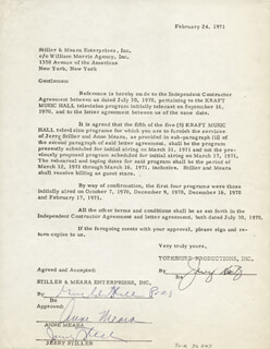 JERRY STILLER - CONTRACT SIGNED 02/24/1971 CO-SIGNED BY: ANNE MEARA