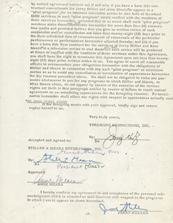 ANNE MEARA - CONTRACT MULTI-SIGNED 09/09/1970 CO-SIGNED BY: JERRY STILLER