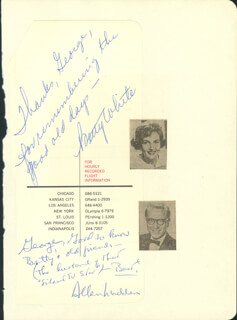 BETTY WHITE - AUTOGRAPH NOTE SIGNED CO-SIGNED BY: ALLEN LUDDEN