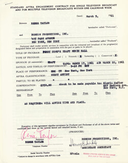 RENEE TAYLOR - CONTRACT SIGNED 03/09/1961