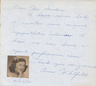 ANNE WHITFIELD - AUTOGRAPH NOTE SIGNED 10/25/1954