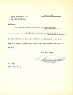CATERINA VALENTE - DOCUMENT SIGNED 05/11/1961