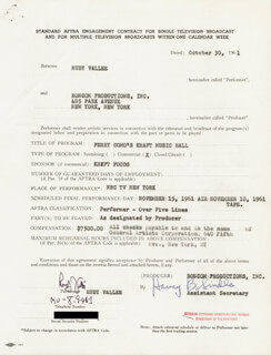 RUDY VALLEE - CONTRACT MULTI-SIGNED 10/30/1961