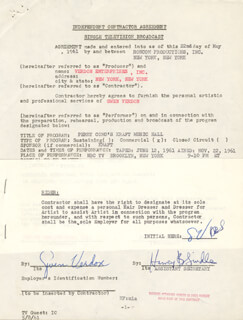 GWEN VERDON - CONTRACT MULTI-SIGNED 05/22/1961