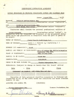 GWEN VERDON - CONTRACT MULTI-SIGNED 08/18/1960