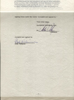 ANDY WILLIAMS - CONTRACT SIGNED 12/01/1955