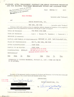 PAUL WINCHELL - CONTRACT MULTI-SIGNED 02/09/1956