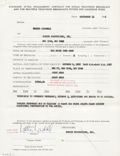 WALTER KING OF BROADWAY WINCHELL - CONTRACT DOUBLE SIGNED 09/23/1956