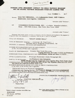 WALTER KING OF BROADWAY WINCHELL - ANNOTATED CONTRACT SIGNED 10/01/1967