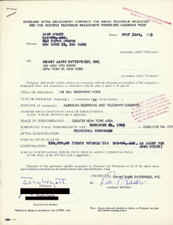 JANE WYATT - DOCUMENT SIGNED 07/31/1963