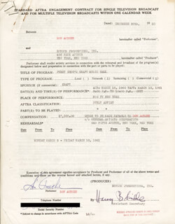 DON AMECHE - CONTRACT SIGNED 12/29/1960