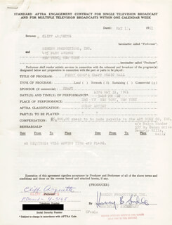 CLIFF CHARLEY WEAVER ARQUETTE - ANNOTATED CONTRACT DOUBLE SIGNED 05/11/1961