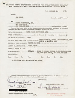 BEATRICE BEA ARTHUR - CONTRACT SIGNED 11/30/1960