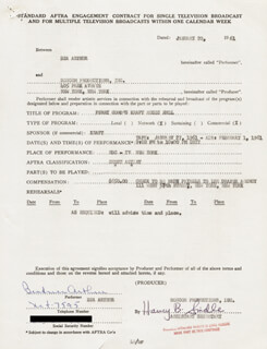 BEATRICE BEA ARTHUR - CONTRACT DOUBLE SIGNED 01/20/1961