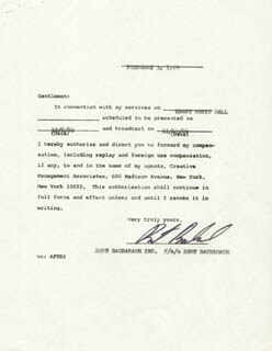 BURT BACHARACH - DOCUMENT SIGNED 02/03/1970