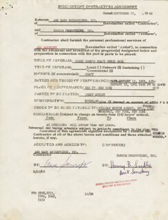 ANNE BANCROFT - DOCUMENT SIGNED 09/27/1960