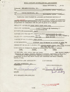 ANNE BANCROFT - CONTRACT SIGNED 09/27/1960