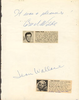 CORNEL WILDE - AUTOGRAPH CO-SIGNED BY: JEAN WALLACE, BILL BIRD