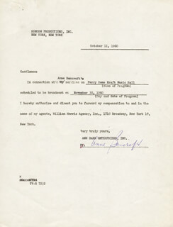ANNE BANCROFT - CONTRACT SIGNED 10/11/1960