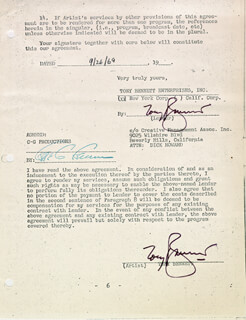 TONY BENNETT - DOCUMENT DOUBLE SIGNED 09/26/1969