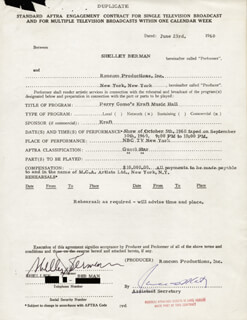 Autographs: SHELLEY BERMAN - CONTRACT SIGNED 06/23/1960
