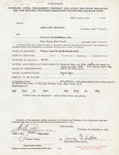 SHELLEY BERMAN - CONTRACT SIGNED 06/23/1960