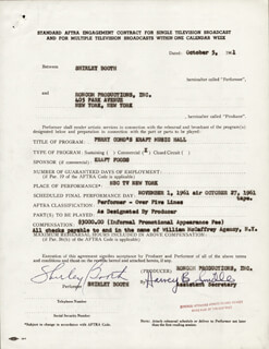SHIRLEY BOOTH - CONTRACT SIGNED 10/05/1961