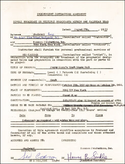 SID CAESAR - CONTRACT SIGNED 08/17/1960