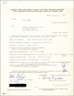 TOM BOSLEY - CONTRACT SIGNED 10/02/1961