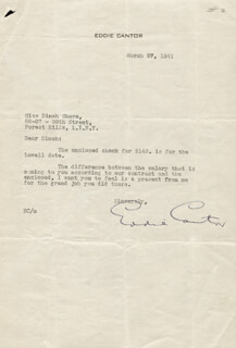 EDDIE CANTOR - TYPED LETTER SIGNED 03/27/1941
