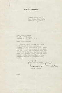 EDDIE CANTOR - TYPED LETTER SIGNED 01/13/1942