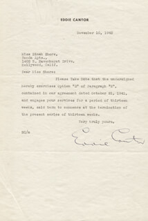 EDDIE CANTOR - TYPED LETTER SIGNED 11/10/1942