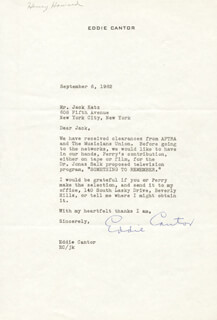 EDDIE CANTOR - TYPED LETTER SIGNED 09/06/1962