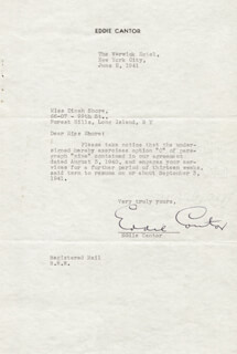 EDDIE CANTOR - TYPED LETTER SIGNED 06/02/1941