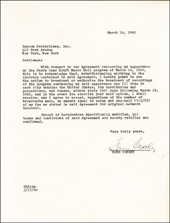 BING CROSBY - TYPED LETTER SIGNED 03/16/1960