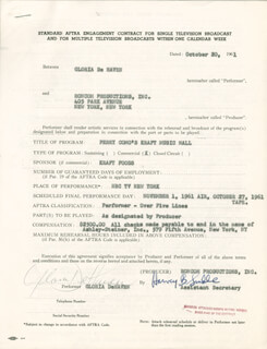 Autographs: GLORIA DEHAVEN - CONTRACT MULTI-SIGNED 10/20/1961
