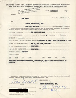 TOM EWELL - CONTRACT DOUBLE SIGNED 11/08/1955