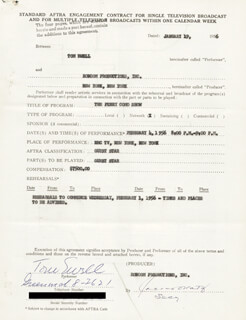 TOM EWELL - CONTRACT MULTI-SIGNED 01/19/1956