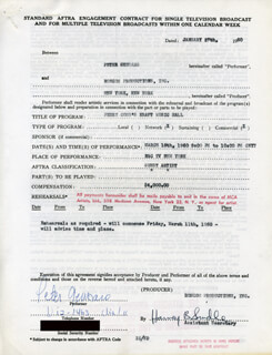 PETER GENNARO - CONTRACT MULTI-SIGNED 01/27/1960