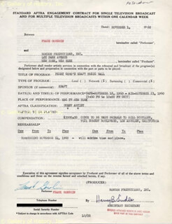 FRANK GORSHIN - DOCUMENT SIGNED 11/01/1960